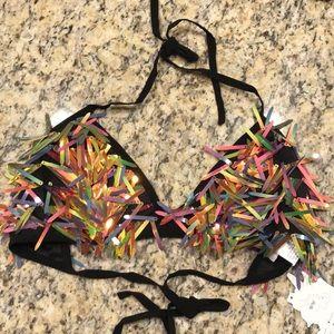 iHeartRaves Rave Rainbow Sequin Bra Top
